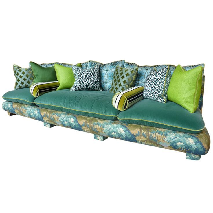 1940s French U0027Cha Chau0027 Sofa In Verdure Fabrics