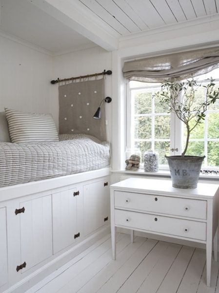 White Bed Nook W/ Storage. Perfect For The Tiniest Of Spaces. Consider A  Pull Out Bed On Coasters Instead Of Storage For Guests.