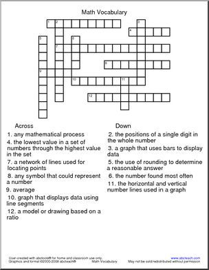 Crossword Puzzles Math Vocabulary Math Riddles Maths Puzzles