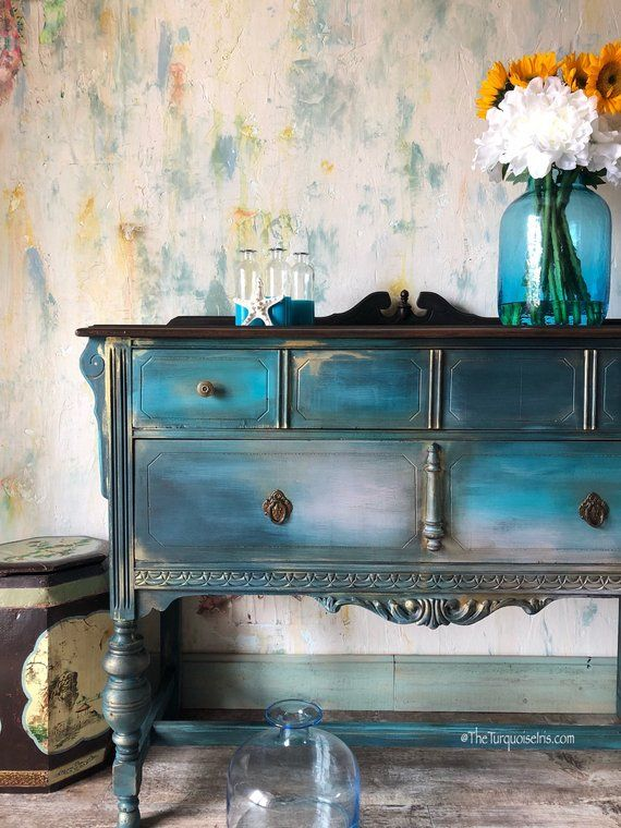 Bohemian Rustic Chic Buffet In Teal Painted Furniture