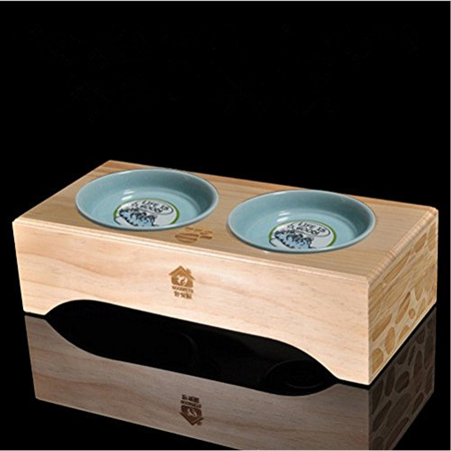 Premium Elevated Dog And Cat Wood Diner Pet Feeder Food Bowls Raised Stand