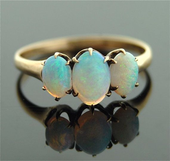 Antique Opal Ring  14k Rose Gold with Three Oval by SITFineJewelry,