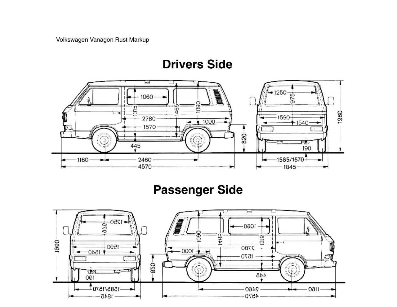 van vehicle damage diagram