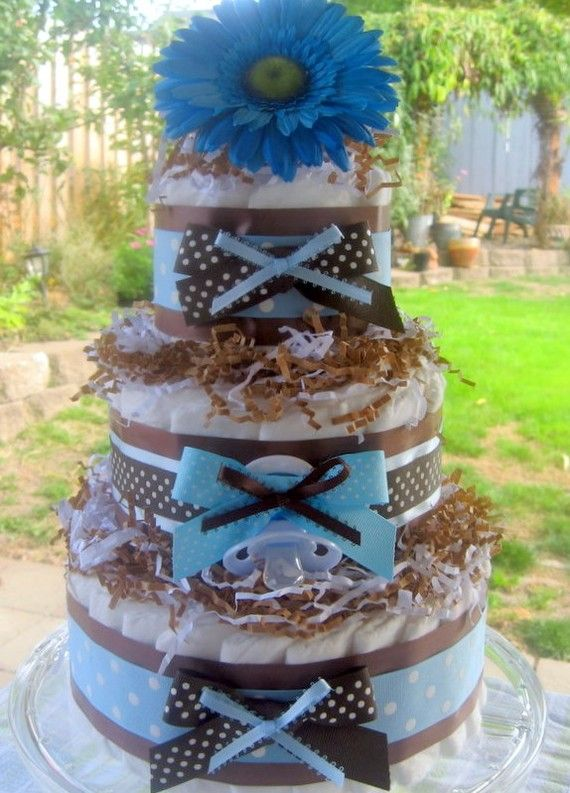 Blue and Brown Baby Boy Diaper Cake Shower by ...