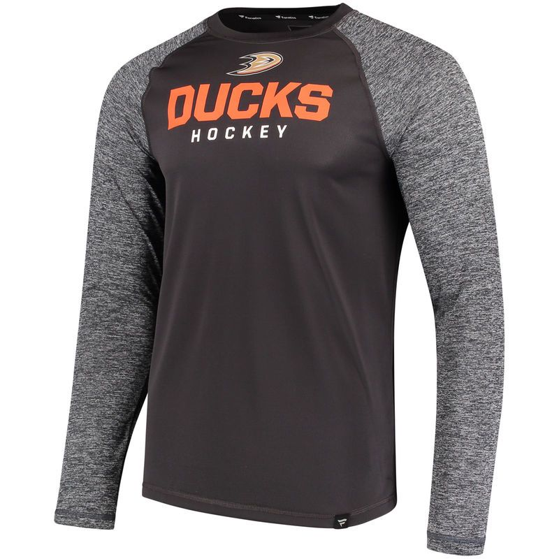 competitive price 37178 74d8a Men s Fanatics Branded Black Heathered Gray Anaheim Ducks Static Long  Sleeve T-Shirt