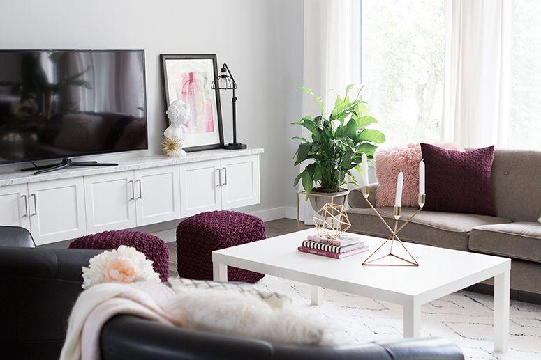 Blogger Living Room Reveal Blush Pink Burgundy And Gold Decor For Fall Burgundy Living Room Burgundy Couch Living Room Purple Living Room