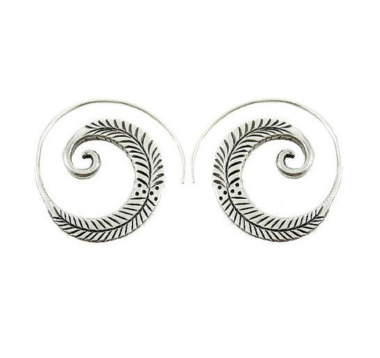 f3c38412e Sterling Silver Thick Flat, engraved oxidized Feather/ branch on Spiral  swirl Hoop, Boho Tribal Earrings, Handmade Womens or Mens earrings  Measurements: 1.2 ...