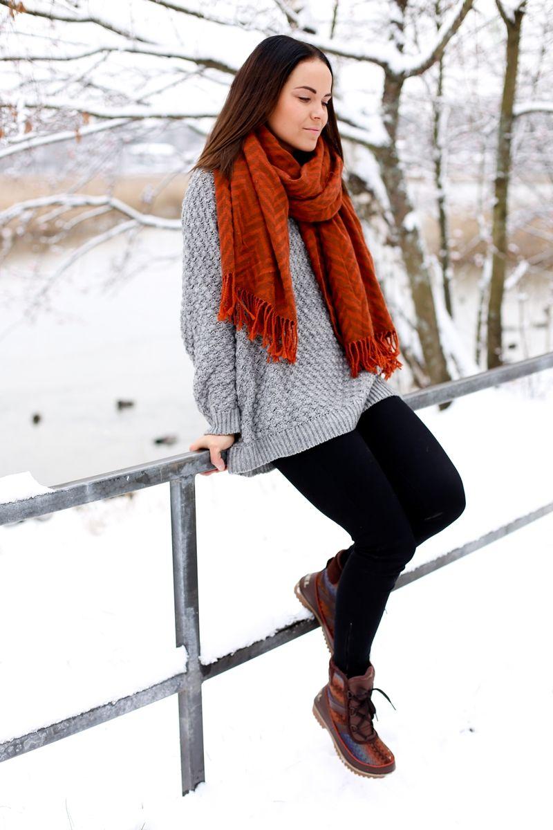 Sorel Boots, Orange Scarf & Grey Sweater  http://just-my-imagination.indiedays.com/2014/11/24/sorel-kolme-erilaista-asua/