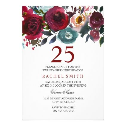 Burgundy Red Floral Elegant 25th Birthday Invite