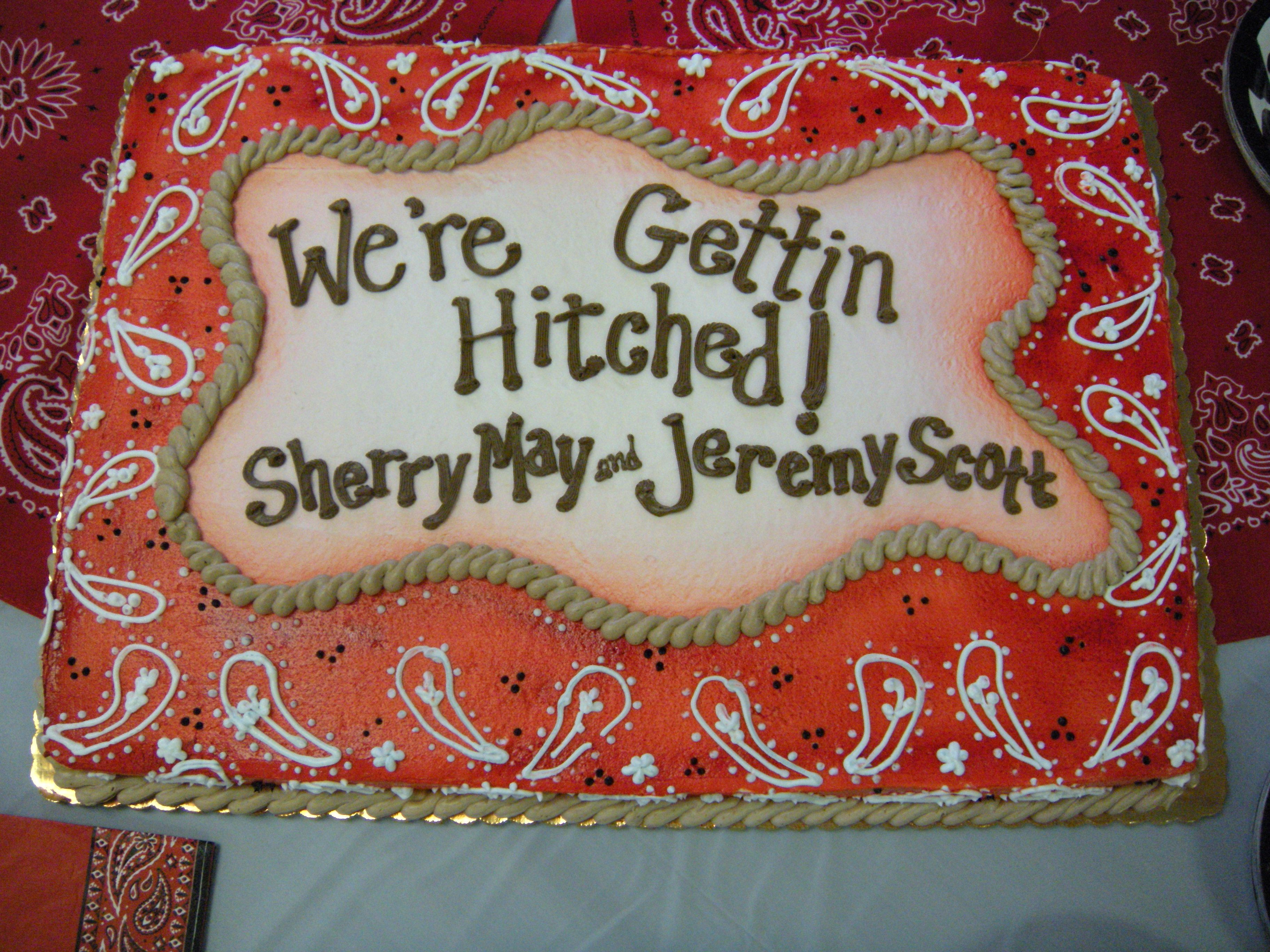 Our awesome bridal shower cake!! Western Cake Hitched country rustic ...