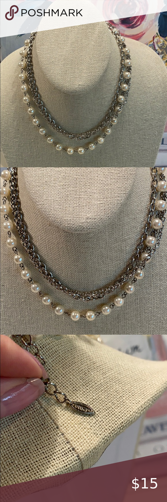 Vintage Volm Pearl Silver 14 Inch Choker Necklace In 2020 Chokers Multi Chain Necklace Silver Pearls