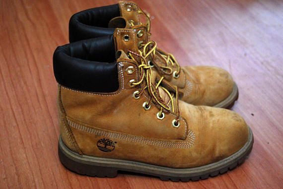 8b09a8cfcc3 vintage TIMBERLAND BOOTS (4) tan light brown 90s hike camp outdoor ...
