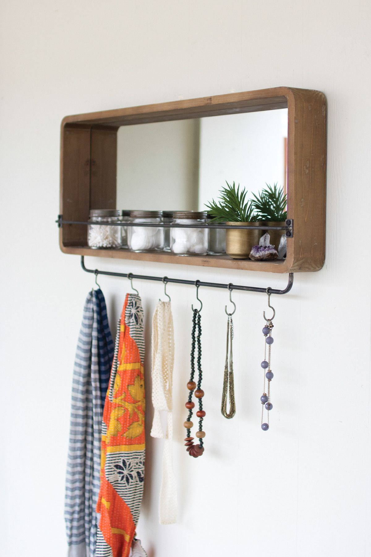 Mirror With Wooden Frame And Industrial Hooks Entryway Mirror