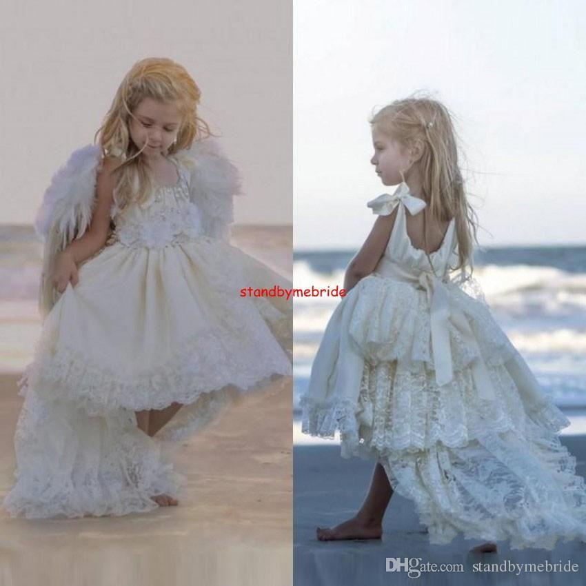 Vintage White Crew Flowers Girls Dress Little Kids Hi-Lo Lace Girl ...