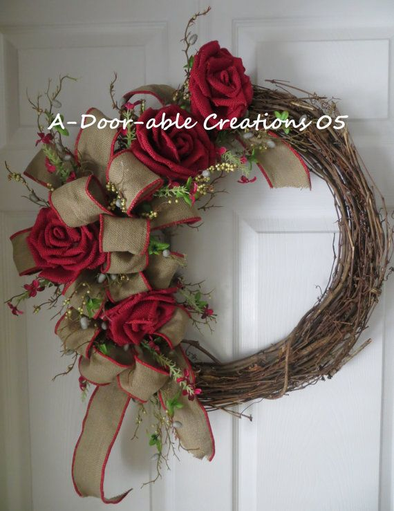 Enjoy This Beautiful Grapevine Wreath With Burlap Flowers