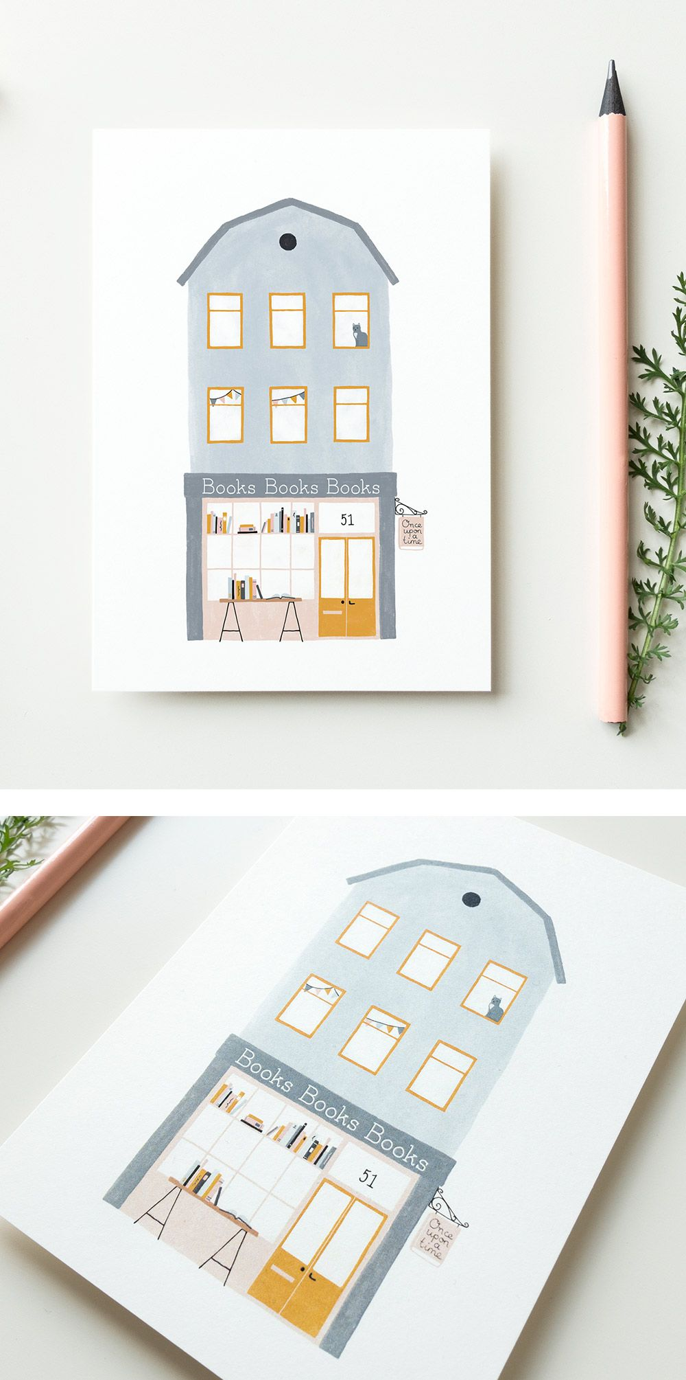 Book Illustration Postcard Little Library Art Print Gift for Book Lovers Writers Readers Cute Watercolor Artwork NaNoWriMo Card