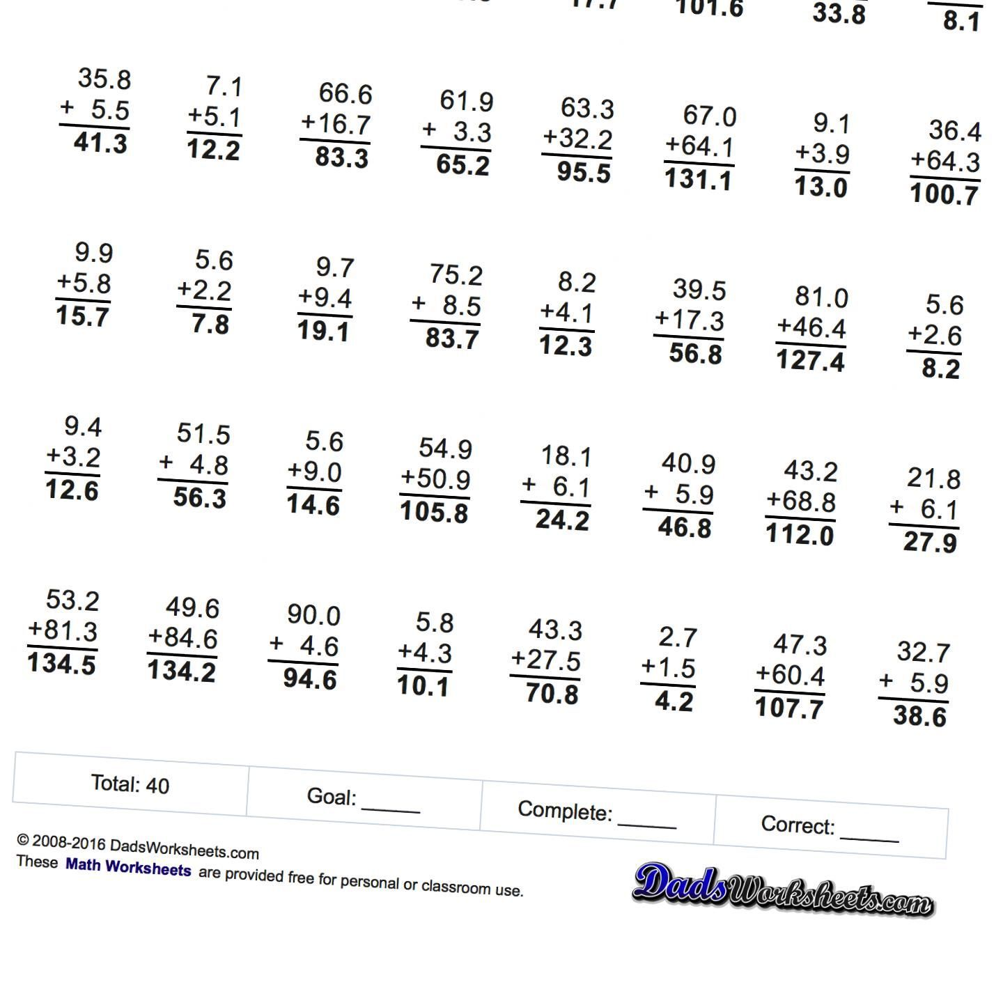 Addition Worksheets These Addition With Decimal