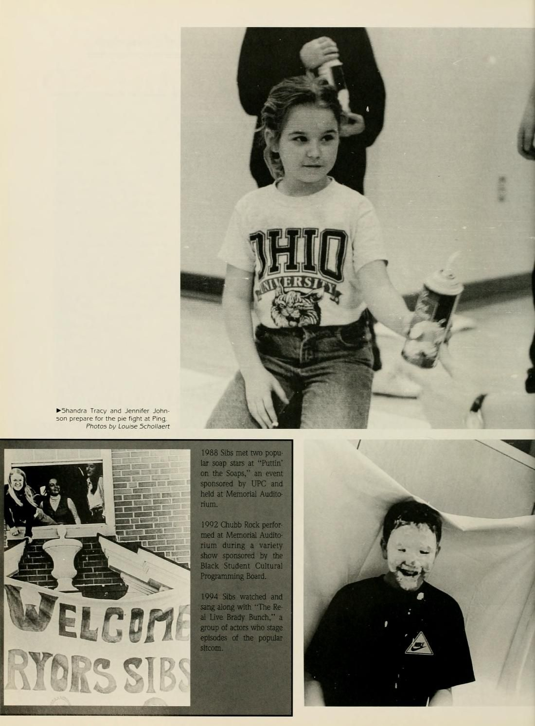 """Athena yearbook, 1996. Sibs Weekend coverage. """"Shandra Tracy and Jennifer Johnson for the pie fight at Ping."""" :: Ohio University Archives"""