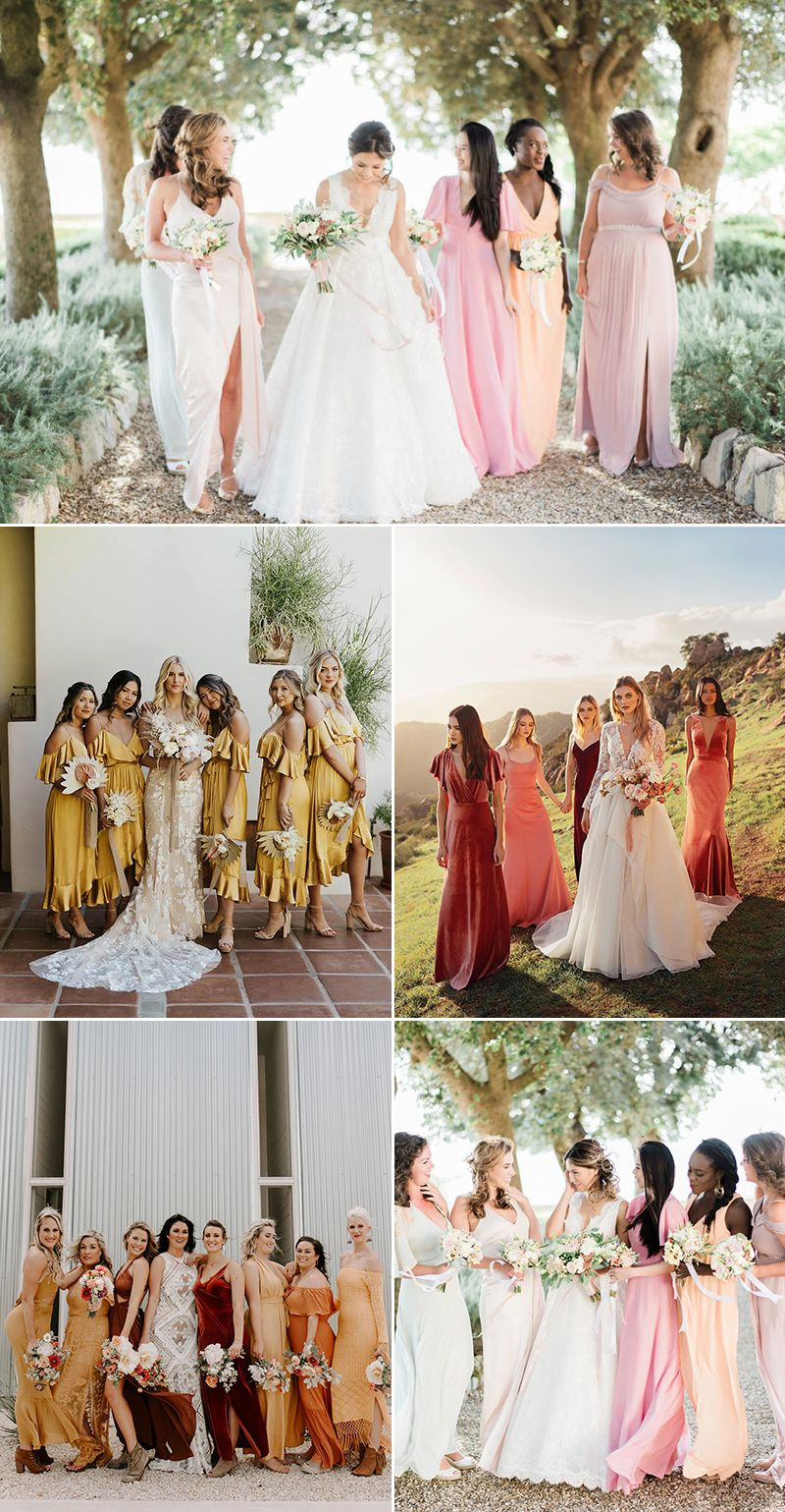 Top 5 Bridesmaid Dress Color Combinations For Spring And Summer Weddings Featuring Unique Mismatched Looks Bridesmaid Colors Bridesmaid Yellow Bridesmaid Dresses [ 1539 x 800 Pixel ]