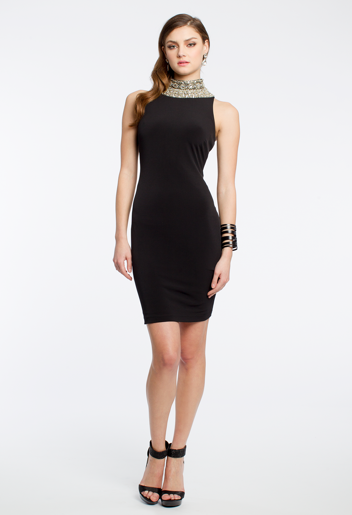 Beaded collar dress with high neck beaded collar collar dress and