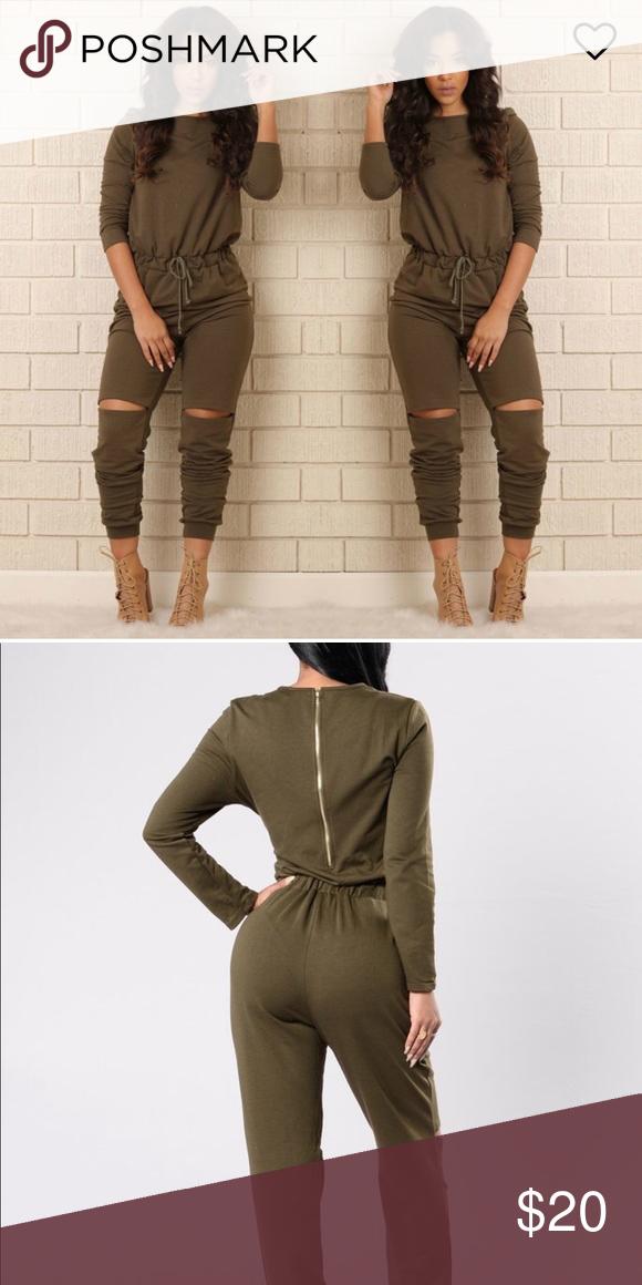 c1db9f043e295 Olive green jumpsuit Olive green jumpsuit size L Cut knees Jogger fit  Fashion Nova Other