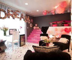 pink and black room!