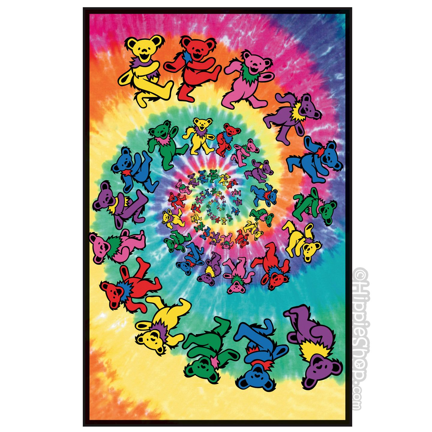grateful dead spiral bear black light poster on sale for 9 99