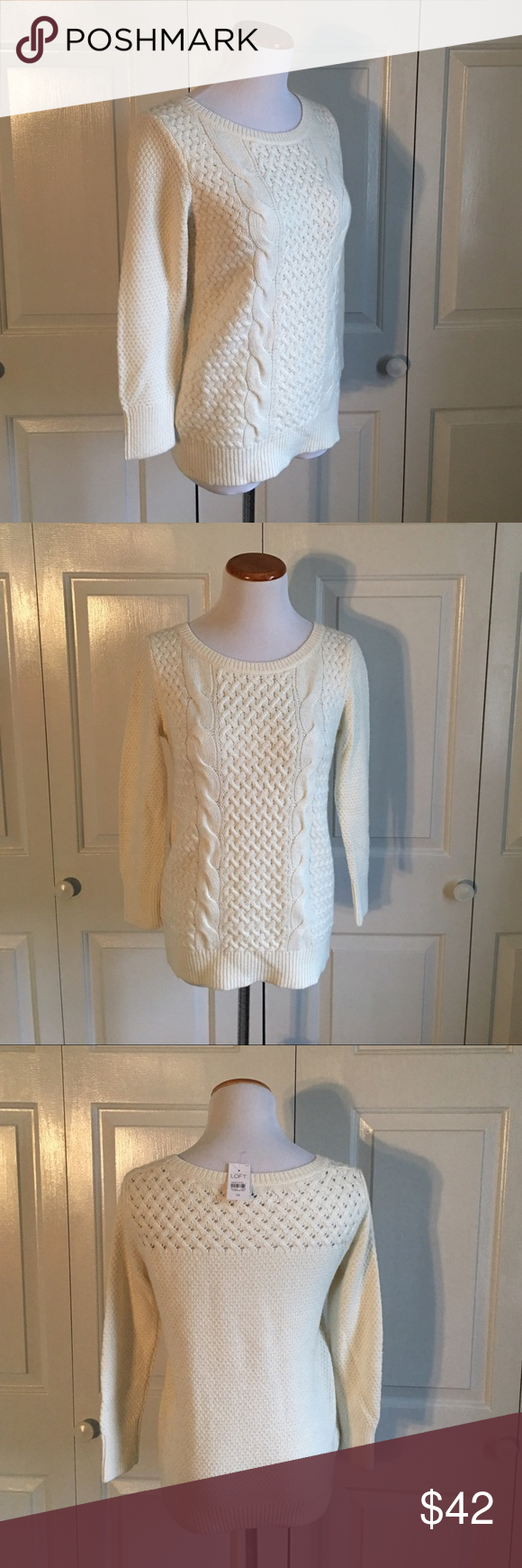 LOFT Cable Knit Sweater Cream colored cable knit sweater from LOFT ...