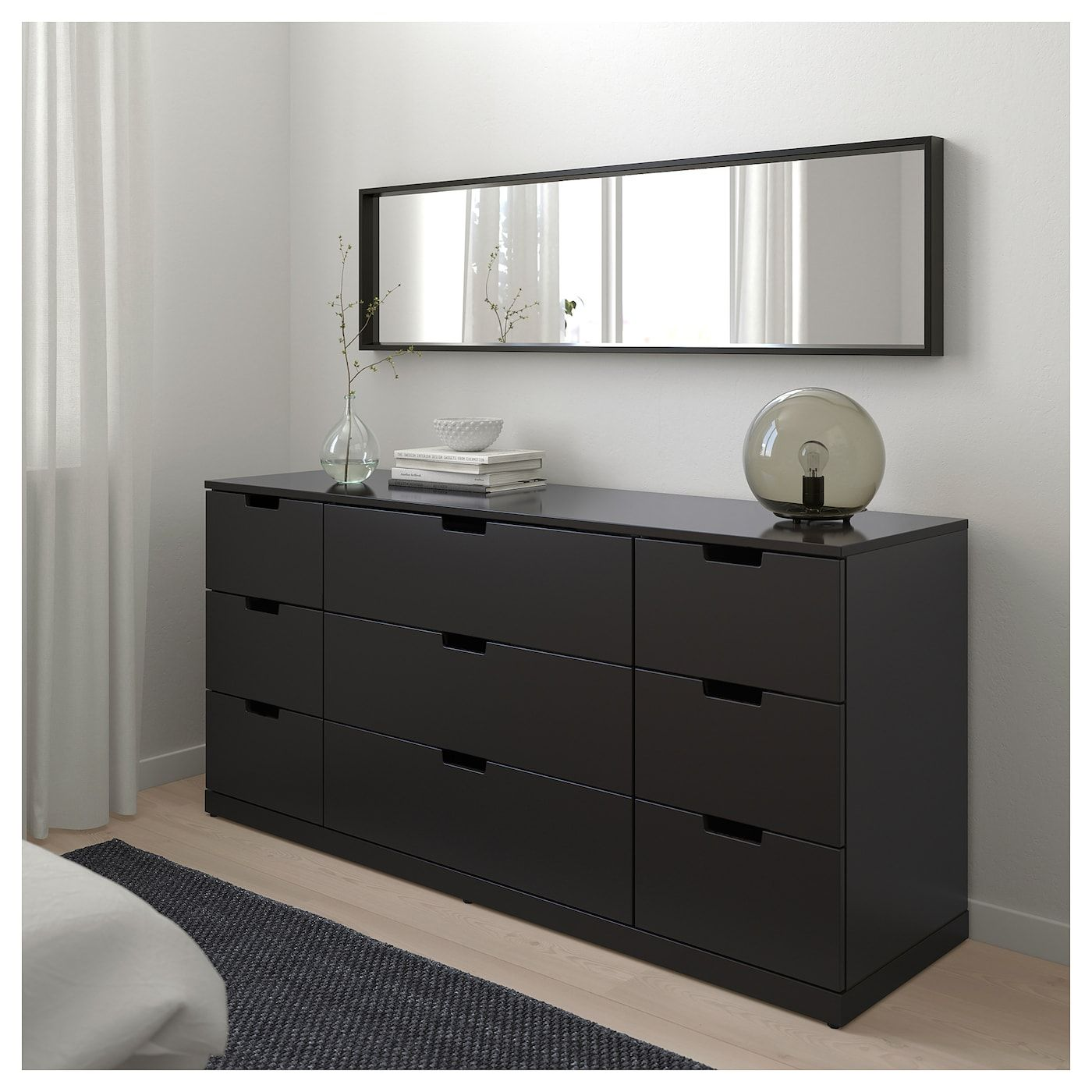 Nordli 9 Drawer Chest Anthracite 63x29 7 8 160x76 Cm Bedroom Storage For Small Rooms Storage Solutions Bedroom Bedroom Chest Of Drawers