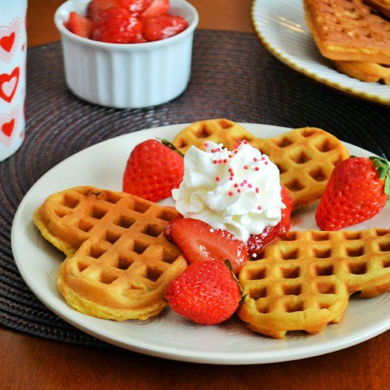 These heart-shaped Strawberry Waffles are perfection. Valentine's Day perfection!