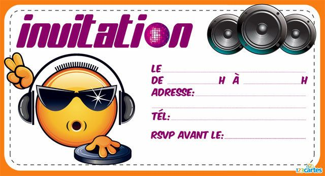 3 invitations anniversaire imprimer avec l 39 illustration d 39 un dj smiley fun le smiley porte. Black Bedroom Furniture Sets. Home Design Ideas