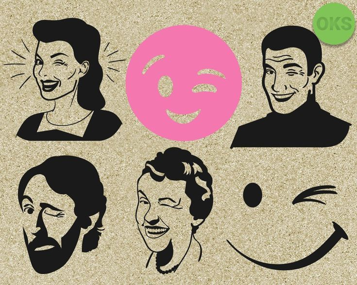 Wink expression svg, dxf, vector, eps, clipart, cricut