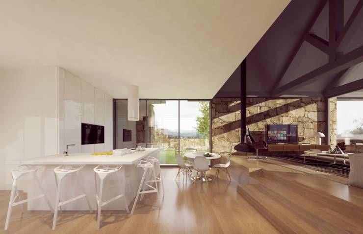3d interior - cozinha, sala de jantar e estar : Cozinhas rústicas por Davide Domingues Arquitecto