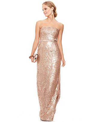 Bcbgmaxazria Dress Strapless Sequined Belted Gown Womens Dresses