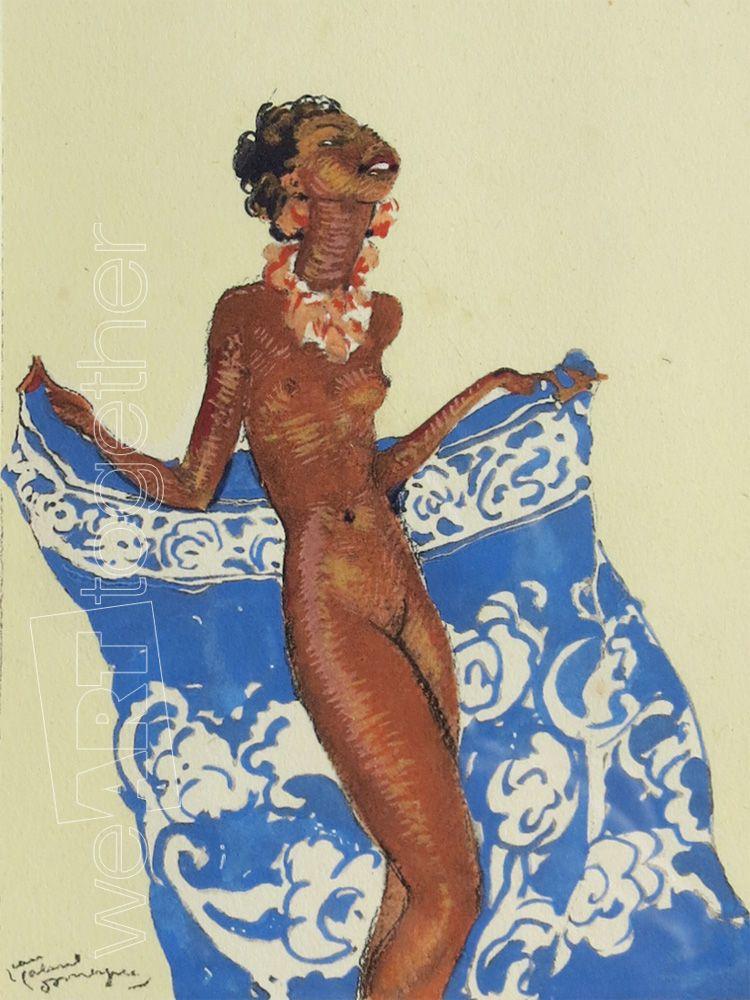 Galerie Photo Nue >> Jean Gabriel Domergue Josephine Baker Nue Gouache Signee En Bas A