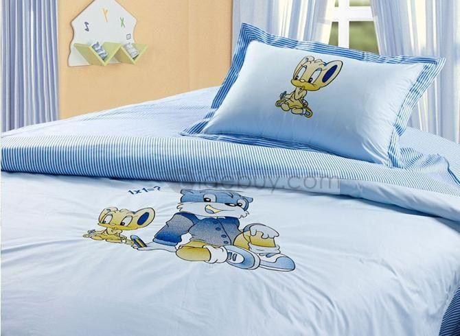 Best Pure Cotton Cartoon Blue Cat Comfortable Kids Bedding Sets 400 x 300