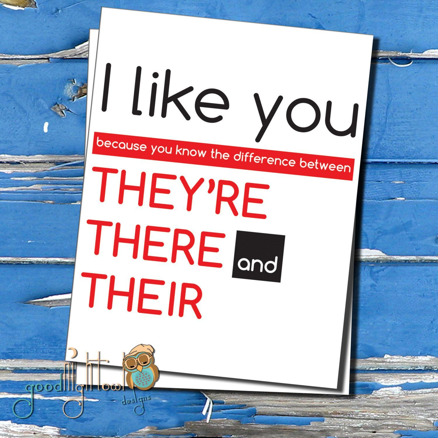 Funny Grammar Card Valentine Card I Like You Because