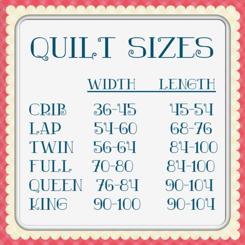 Quilt Size Chart  Gabrielle    Quilt Size Charts