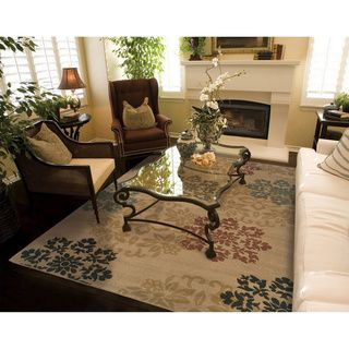 Indoor Beige Floral Rug (3'2 x 5'5) - Overstock™ Shopping - Great Deals on Style Haven 3x5 - 4x6 Rugs