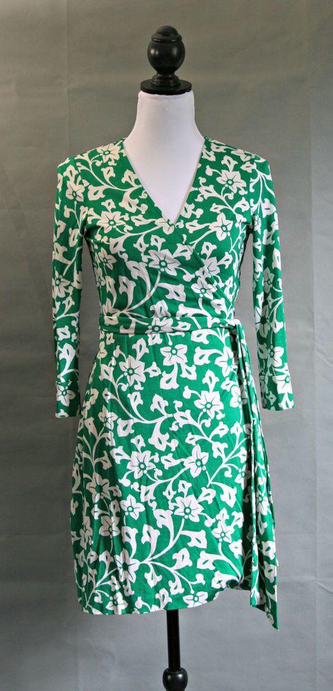 DVF Diane Von Furstenberg Green Floral Wrap Dress 100% Silk Julian ...
