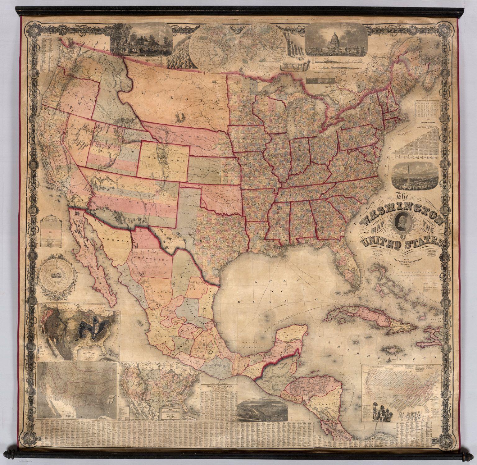 Washington Map of the United States, 1861 #map #usa | Antique Maps ...