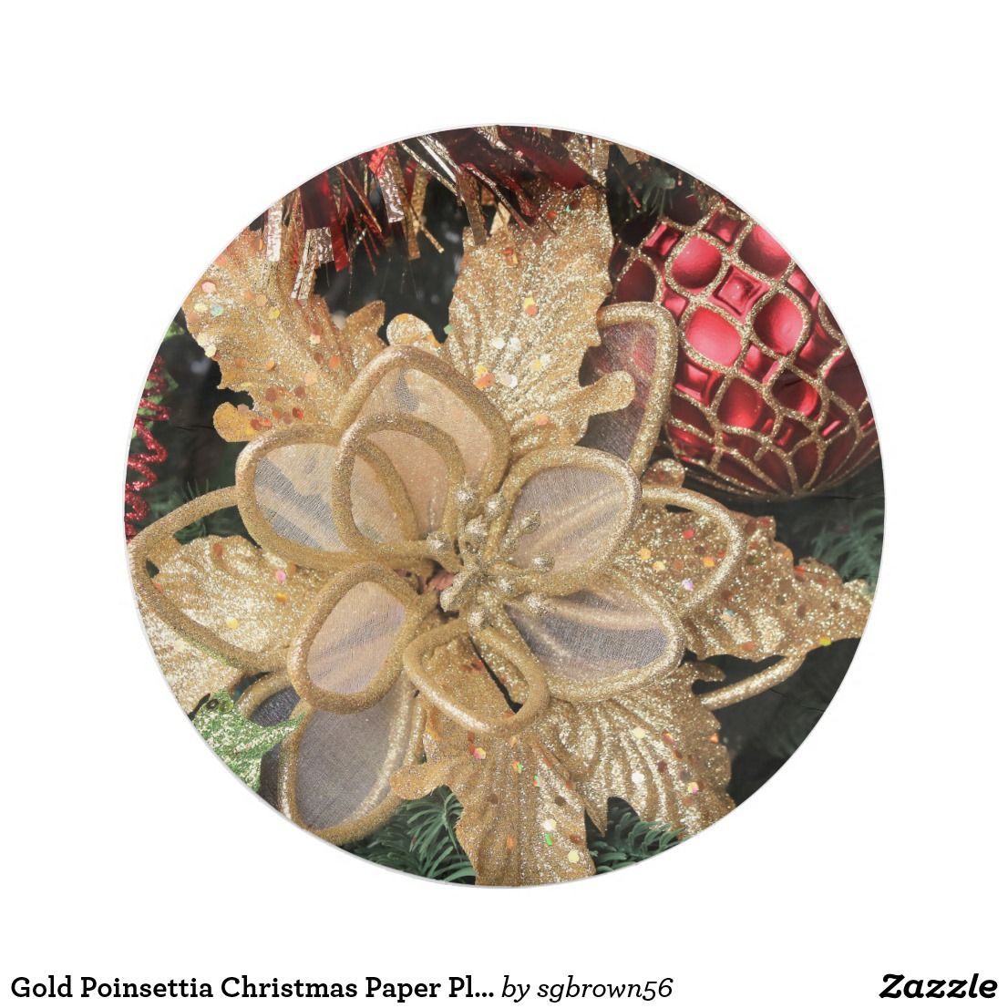 Gold Poinsettia Christmas Paper Plates Zazzle Com Christmas Paper Plates Christmas Dinnerware Paper Plates