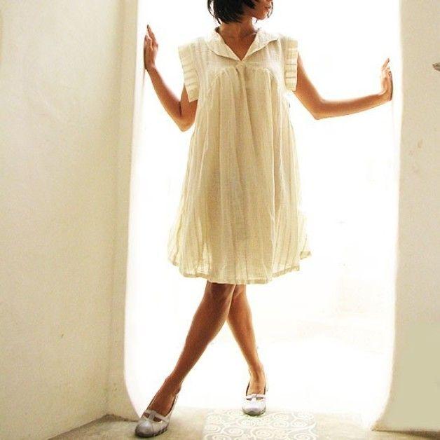 """Knielange Kleider - """"Zoe""""...Kleid,Natur,Leinen/Baumwolle ..."""