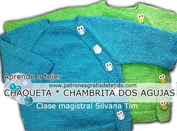 Chambrita saquito chaqueta de bebe tutorial dos agujas  e0c2b34940e