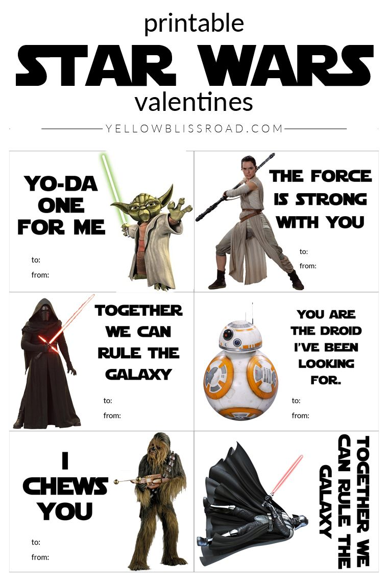 free star wars printable valentines with new and classic characters - Valentine Card Printables Free