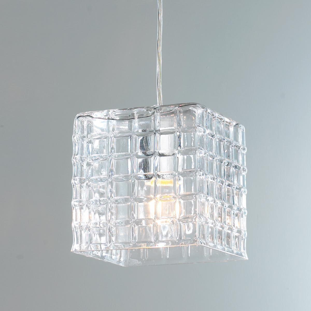 grid square glass pendant light