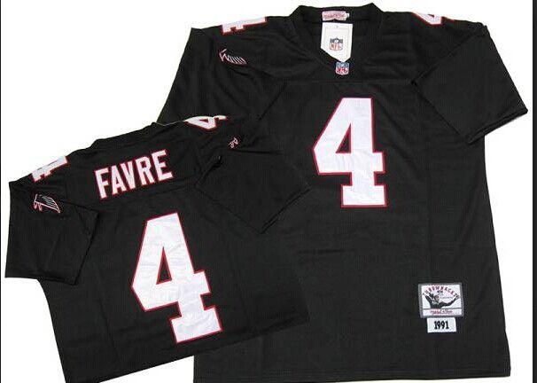 13c3c8d03a5 ... NFL Atlanta Falcons 4 Favre Black Throwback Jersey Mens Elite Brett ...