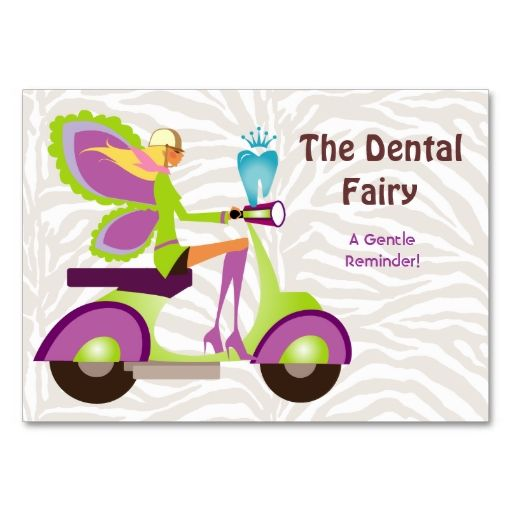 Dentist Reminder Card Scooter Cute Fairy Zazzle Com Dental Business Cards Business Card Template Referral Cards