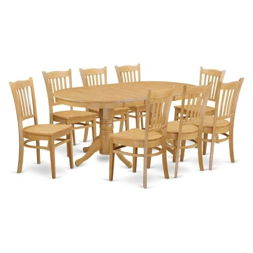 East West Furniture Vancouver 9 Piece Comb Back Dining Table Set