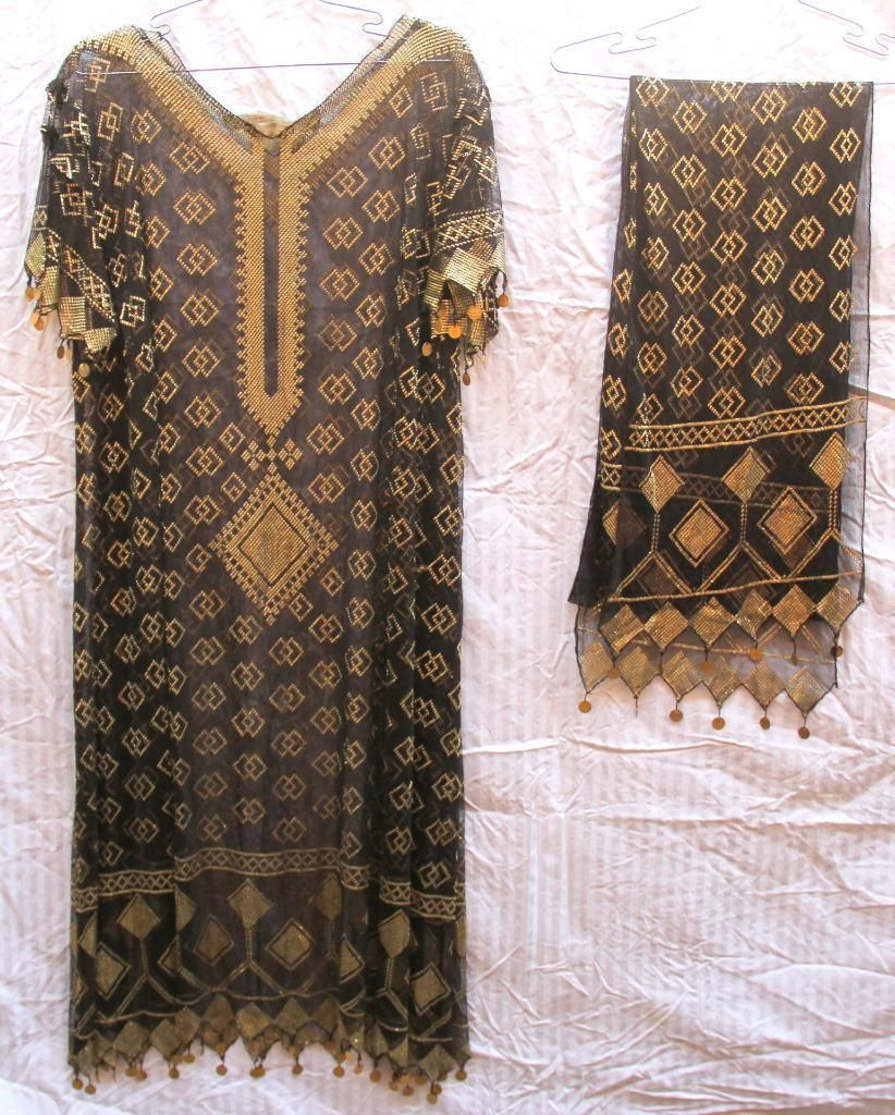 19th Century Assuit Egyptian Dress Shawl Embroidered with Metal Sheets | eBay
